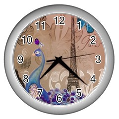 Modern Butterfly  Floral Paris Eiffel Tower Decor Wall Clock (Silver)