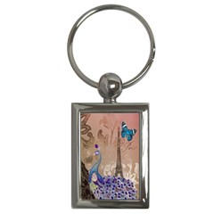Modern Butterfly  Floral Paris Eiffel Tower Decor Key Chain (Rectangle)