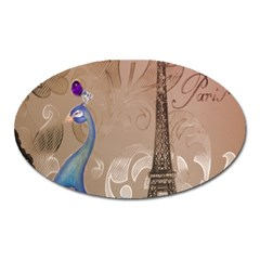 Modern Butterfly  Floral Paris Eiffel Tower Decor Magnet (oval)