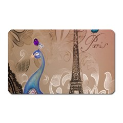 Modern Butterfly  Floral Paris Eiffel Tower Decor Magnet (Rectangular)