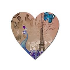 Modern Butterfly  Floral Paris Eiffel Tower Decor Magnet (Heart)