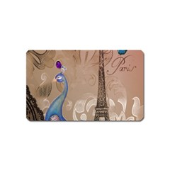 Modern Butterfly  Floral Paris Eiffel Tower Decor Magnet (Name Card)
