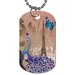 Modern Butterfly  Floral Paris Eiffel Tower Decor Dog Tag (two Sided)