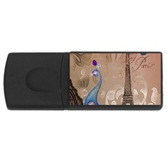 Modern Butterfly  Floral Paris Eiffel Tower Decor 2GB USB Flash Drive (Rectangle)