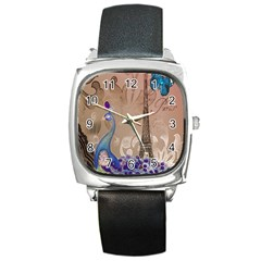 Modern Butterfly  Floral Paris Eiffel Tower Decor Square Leather Watch