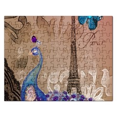Modern Butterfly  Floral Paris Eiffel Tower Decor Jigsaw Puzzle (Rectangle)