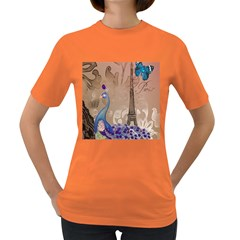 Modern Butterfly  Floral Paris Eiffel Tower Decor Womens' T-shirt (Colored)