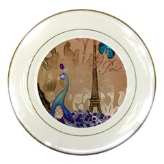 Modern Butterfly  Floral Paris Eiffel Tower Decor Porcelain Display Plate