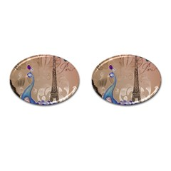 Modern Butterfly  Floral Paris Eiffel Tower Decor Cufflinks (Oval)