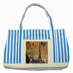 Modern Butterfly  Floral Paris Eiffel Tower Decor Blue Striped Tote Bag