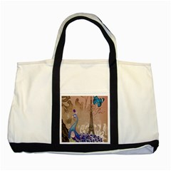 Modern Butterfly  Floral Paris Eiffel Tower Decor Two Toned Tote Bag
