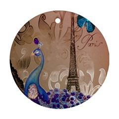 Modern Butterfly  Floral Paris Eiffel Tower Decor Round Ornament (two Sides)