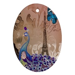 Modern Butterfly  Floral Paris Eiffel Tower Decor Oval Ornament (two Sides)