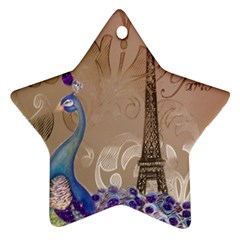 Modern Butterfly  Floral Paris Eiffel Tower Decor Star Ornament (two Sides)