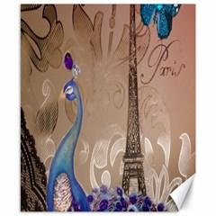 Modern Butterfly  Floral Paris Eiffel Tower Decor Canvas 8  x 10  (Unframed)