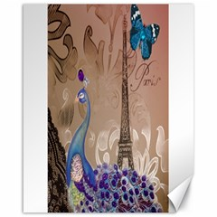 Modern Butterfly  Floral Paris Eiffel Tower Decor Canvas 16  x 20  (Unframed)