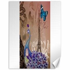 Modern Butterfly  Floral Paris Eiffel Tower Decor Canvas 18  x 24  (Unframed)