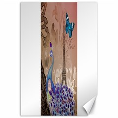 Modern Butterfly  Floral Paris Eiffel Tower Decor Canvas 20  X 30  (unframed)