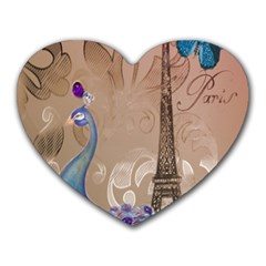 Modern Butterfly  Floral Paris Eiffel Tower Decor Mouse Pad (Heart)