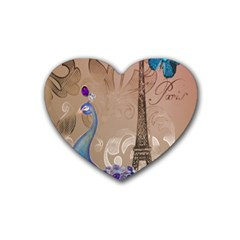 Modern Butterfly  Floral Paris Eiffel Tower Decor Drink Coasters 4 Pack (Heart)