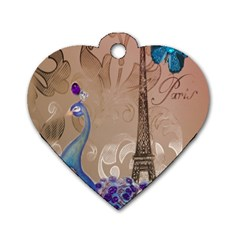 Modern Butterfly  Floral Paris Eiffel Tower Decor Dog Tag Heart (one Sided)