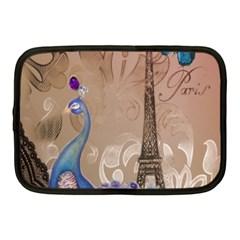 Modern Butterfly  Floral Paris Eiffel Tower Decor Netbook Case (medium)
