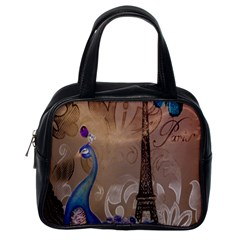 Modern Butterfly  Floral Paris Eiffel Tower Decor Classic Handbag (One Side)