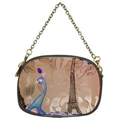 Modern Butterfly  Floral Paris Eiffel Tower Decor Chain Purse (One Side)