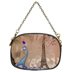 Modern Butterfly  Floral Paris Eiffel Tower Decor Chain Purse (Two Sided)