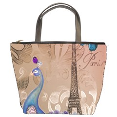 Modern Butterfly  Floral Paris Eiffel Tower Decor Bucket Bag