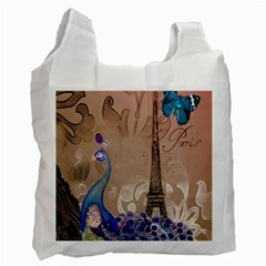 Modern Butterfly  Floral Paris Eiffel Tower Decor Recycle Bag (Two Sides)