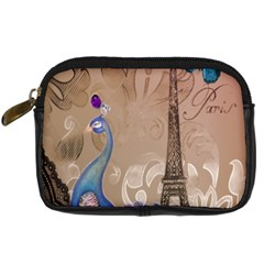 Modern Butterfly  Floral Paris Eiffel Tower Decor Digital Camera Leather Case