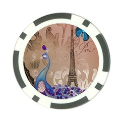 Modern Butterfly  Floral Paris Eiffel Tower Decor Poker Chip 10 Pack
