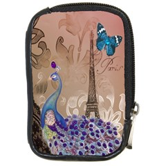 Modern Butterfly  Floral Paris Eiffel Tower Decor Compact Camera Leather Case