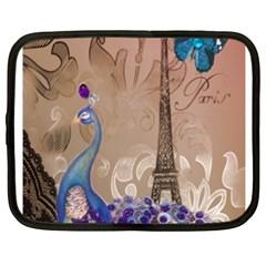 Modern Butterfly  Floral Paris Eiffel Tower Decor Netbook Case (XXL)