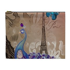 Modern Butterfly  Floral Paris Eiffel Tower Decor Cosmetic Bag (XL)