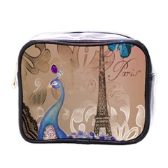 Modern Butterfly  Floral Paris Eiffel Tower Decor Mini Travel Toiletry Bag (One Side)