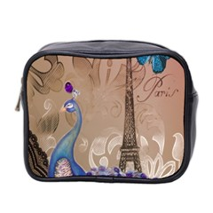 Modern Butterfly  Floral Paris Eiffel Tower Decor Mini Travel Toiletry Bag (two Sides)