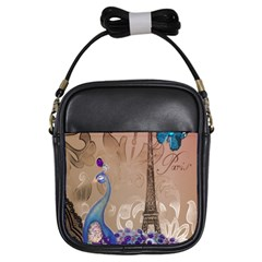 Modern Butterfly  Floral Paris Eiffel Tower Decor Girl s Sling Bag