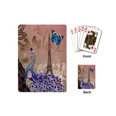 Modern Butterfly  Floral Paris Eiffel Tower Decor Playing Cards (Mini)