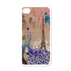 Modern Butterfly  Floral Paris Eiffel Tower Decor Apple iPhone 4 Case (White)