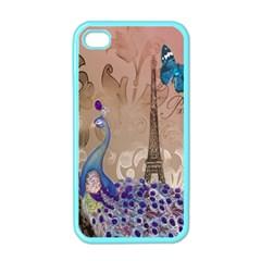 Modern Butterfly  Floral Paris Eiffel Tower Decor Apple iPhone 4 Case (Color)