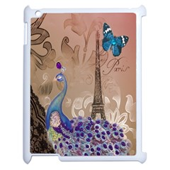 Modern Butterfly  Floral Paris Eiffel Tower Decor Apple Ipad 2 Case (white)