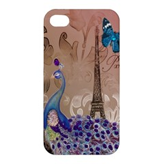 Modern Butterfly  Floral Paris Eiffel Tower Decor Apple iPhone 4/4S Premium Hardshell Case