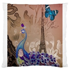 Modern Butterfly  Floral Paris Eiffel Tower Decor Large Cushion Case (Two Sided)