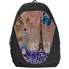 Modern Butterfly  Floral Paris Eiffel Tower Decor Backpack Bag