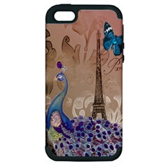 Modern Butterfly  Floral Paris Eiffel Tower Decor Apple iPhone 5 Hardshell Case (PC+Silicone)