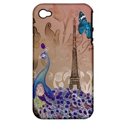 Modern Butterfly  Floral Paris Eiffel Tower Decor Apple iPhone 4/4S Hardshell Case (PC+Silicone)