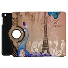 Modern Butterfly  Floral Paris Eiffel Tower Decor Apple iPad Mini Flip 360 Case