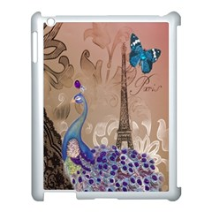 Modern Butterfly  Floral Paris Eiffel Tower Decor Apple iPad 3/4 Case (White)